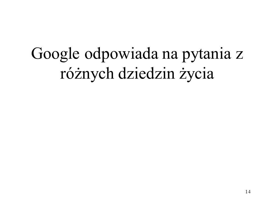 Google odpowiada na pytania z różnych dziedzin życia