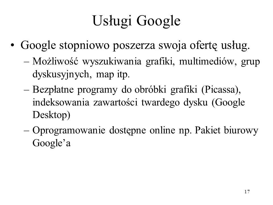 Usługi Google Google stopniowo poszerza swoja ofertę usług.