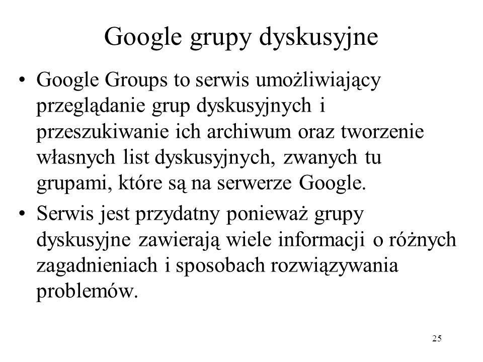 Google grupy dyskusyjne
