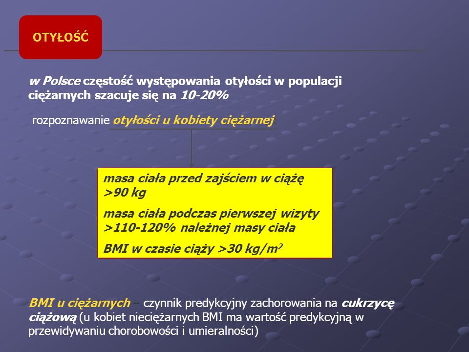 OTYŁOŚĆw Polsce częstość występowania otyłości w populacji ciężarnych szacuje się na 10-20% rozpoznawanie otyłości u kobiety ciężarnej: