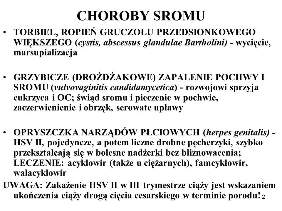 CHOROBY SROMU TORBIEL, ROPIEŃ GRUCZOŁU PRZEDSIONKOWEGO WIĘKSZEGO (cystis, abscessus glandulae Bartholini) - wycięcie, marsupializacja.