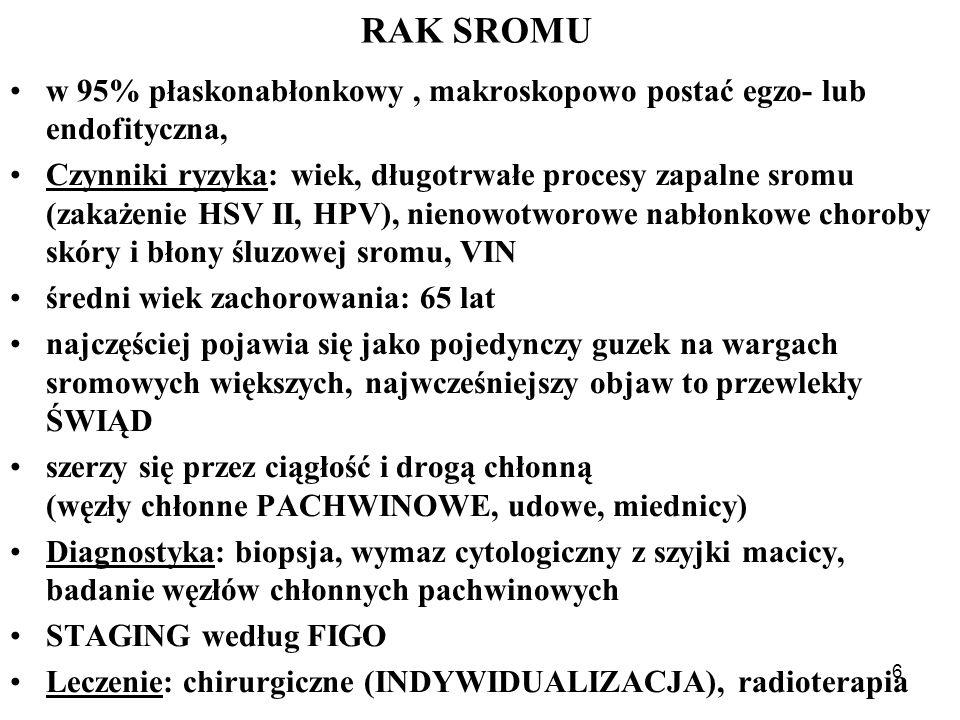 RAK SROMU w 95% płaskonabłonkowy , makroskopowo postać egzo- lub endofityczna,