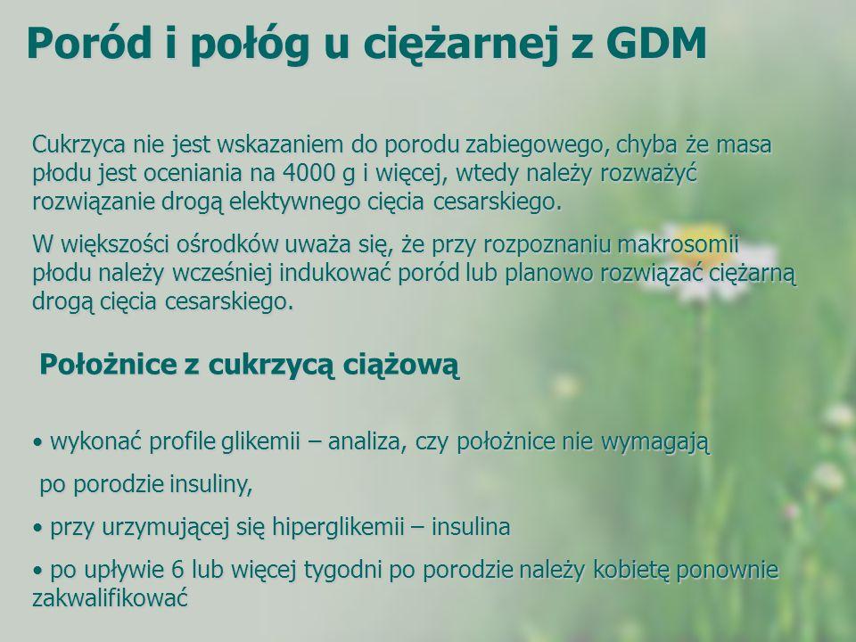 Poród i połóg u ciężarnej z GDM