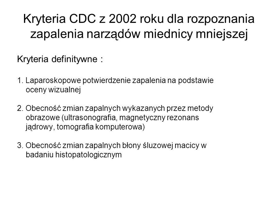 Kryteria CDC z 2002 roku dla rozpoznania zapalenia narządów miednicy mniejszej