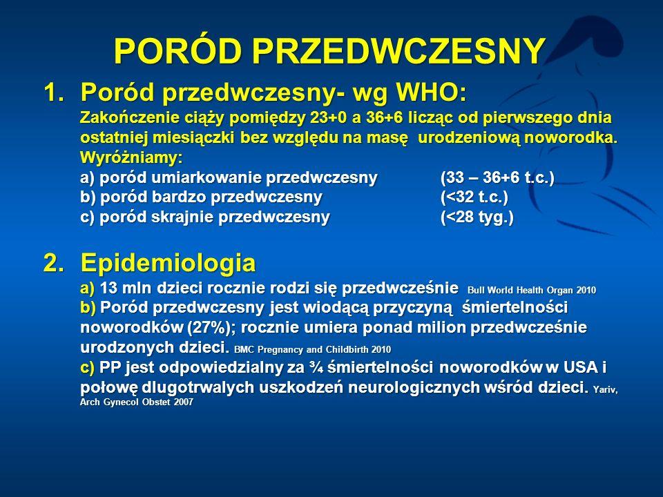 PORÓD PRZEDWCZESNY Poród przedwczesny- wg WHO: 2. Epidemiologia