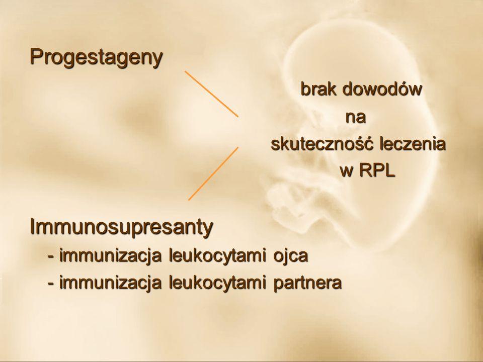 Progestageny brak dowodów Immunosupresanty na skuteczność leczenia