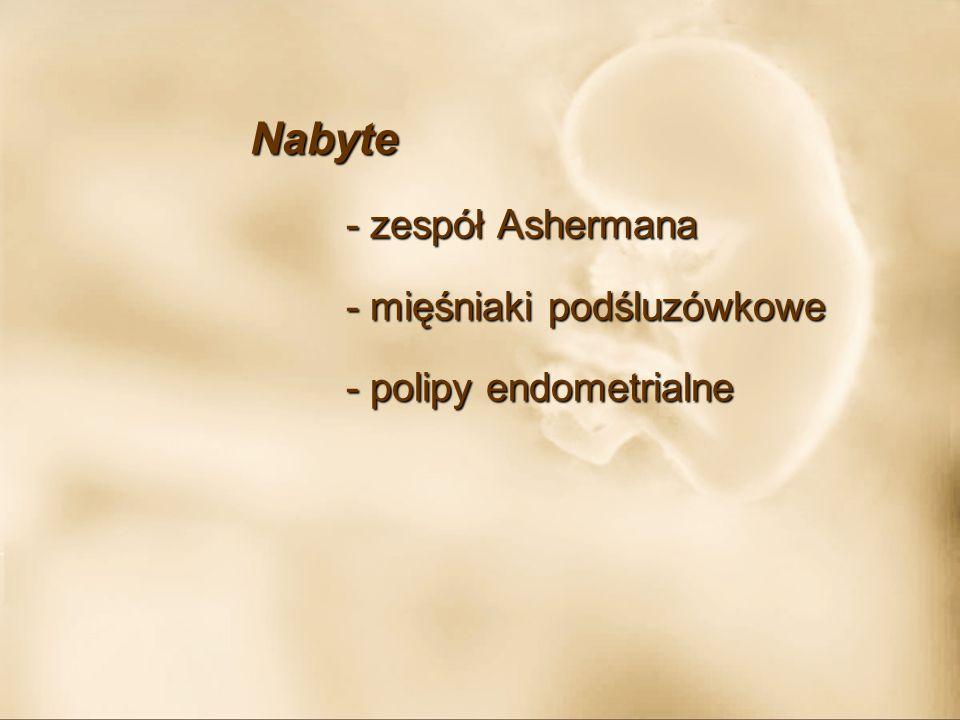 Nabyte - zespół Ashermana - mięśniaki podśluzówkowe - polipy endometrialne
