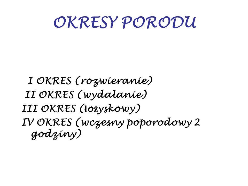 OKRESY PORODU I OKRES (rozwieranie) II OKRES (wydalanie)