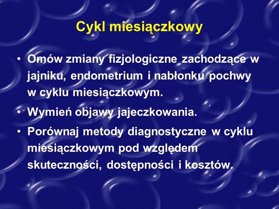 Cykl miesiączkowy Omów zmiany fizjologiczne zachodzące w jajniku, endometrium i nabłonku pochwy w cyklu miesiączkowym.