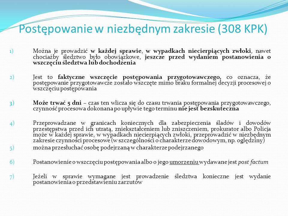 Postępowanie w niezbędnym zakresie (308 KPK)