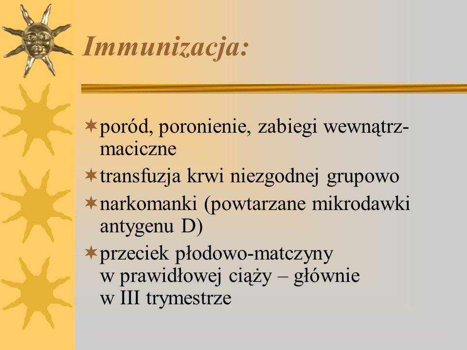 Immunizacja: poród, poronienie, zabiegi wewnątrz-maciczne