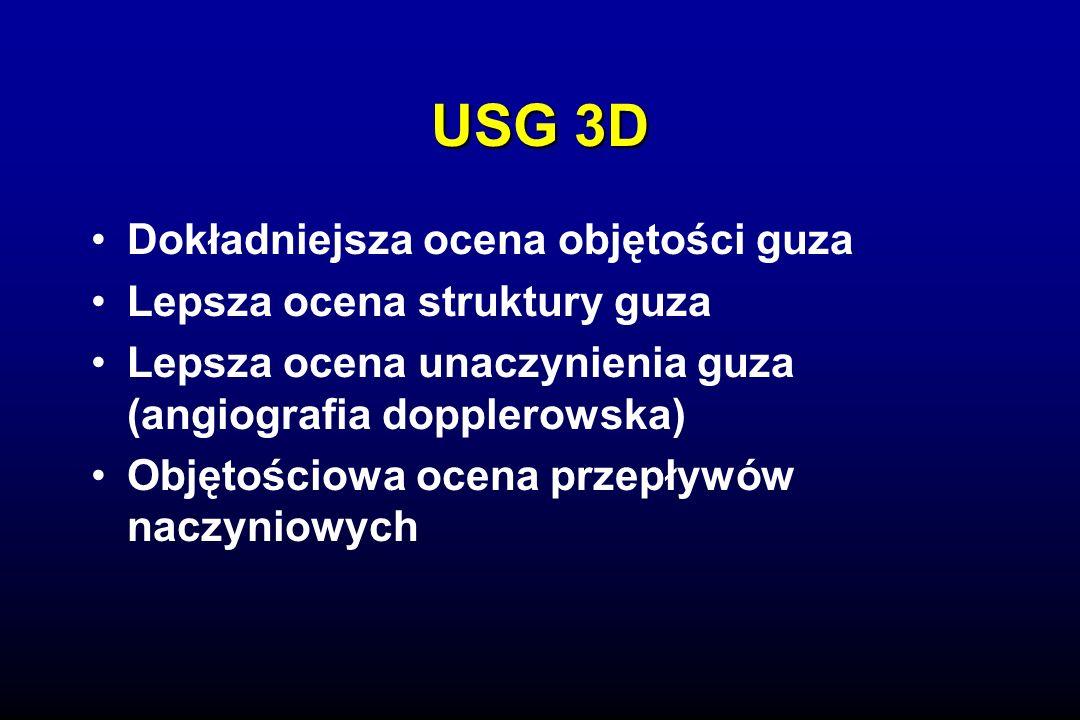 USG 3D Dokładniejsza ocena objętości guza Lepsza ocena struktury guza
