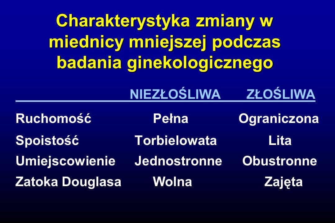 Charakterystyka zmiany w miednicy mniejszej podczas badania ginekologicznego