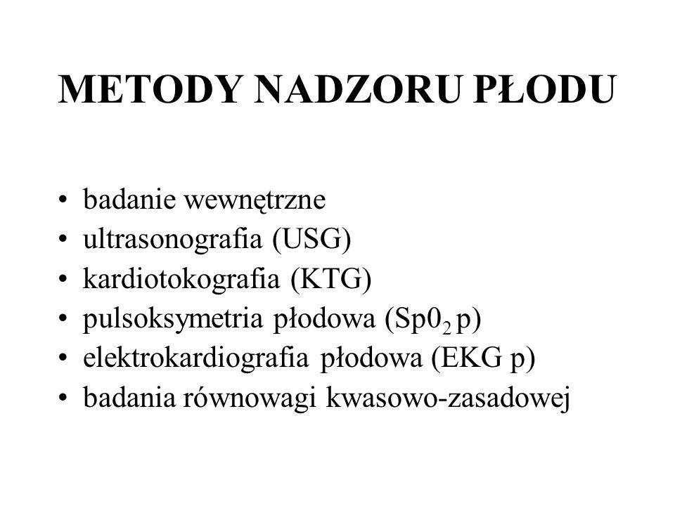 METODY NADZORU PŁODU badanie wewnętrzne ultrasonografia (USG)
