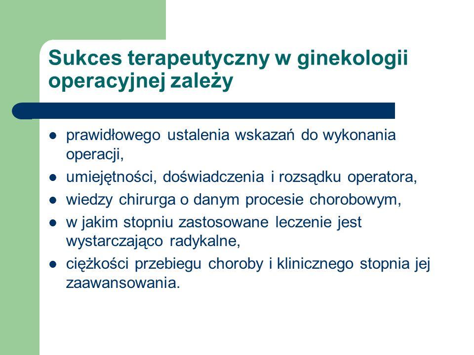 Sukces terapeutyczny w ginekologii operacyjnej zależy