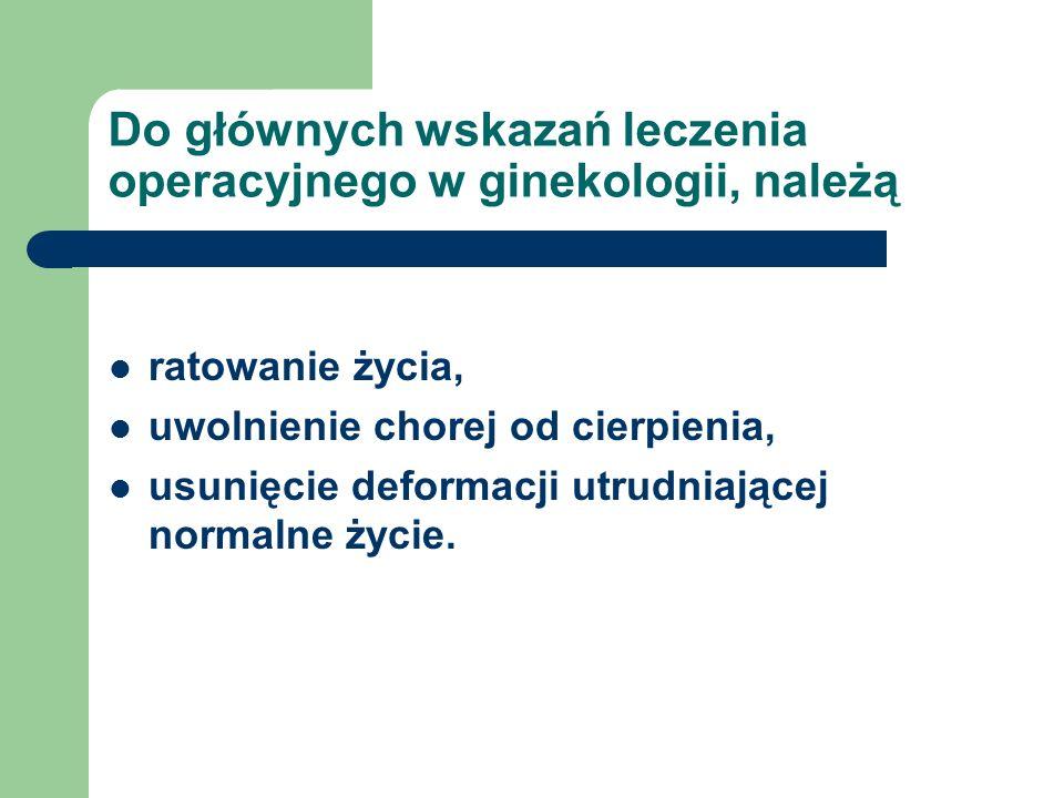 Do głównych wskazań leczenia operacyjnego w ginekologii, należą