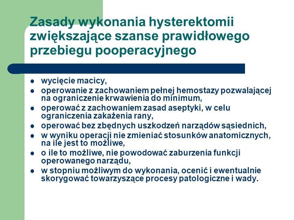 Zasady wykonania hysterektomii zwiększające szanse prawidłowego przebiegu pooperacyjnego