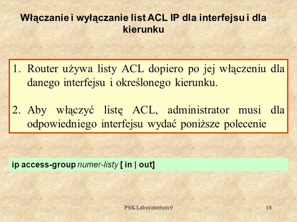 Włączanie i wyłączanie list ACL IP dla interfejsu i dla kierunku