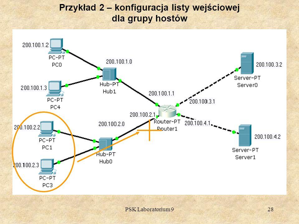 Przykład 2 – konfiguracja listy wejściowej dla grupy hostów