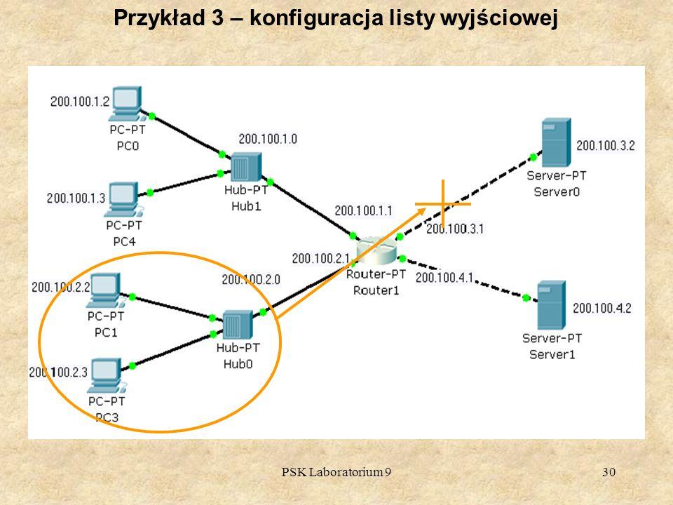 Przykład 3 – konfiguracja listy wyjściowej