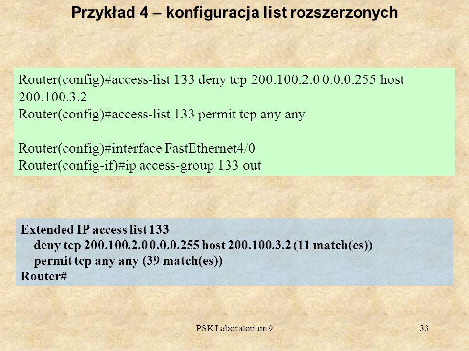 Przykład 4 – konfiguracja list rozszerzonych
