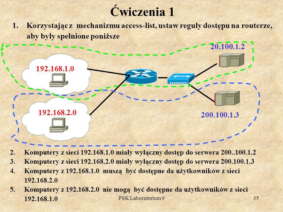 Ćwiczenia 1 Korzystając z mechanizmu access-list, ustaw reguły dostępu na routerze, aby były spełnione poniższe.