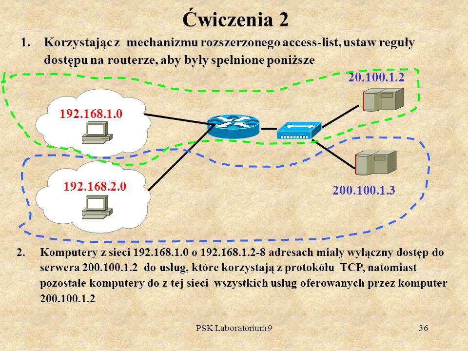 Ćwiczenia 2 Korzystając z mechanizmu rozszerzonego access-list, ustaw reguły dostępu na routerze, aby były spełnione poniższe.