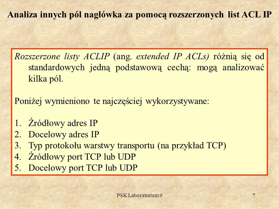 Analiza innych pól nagłówka za pomocą rozszerzonych list ACL IP