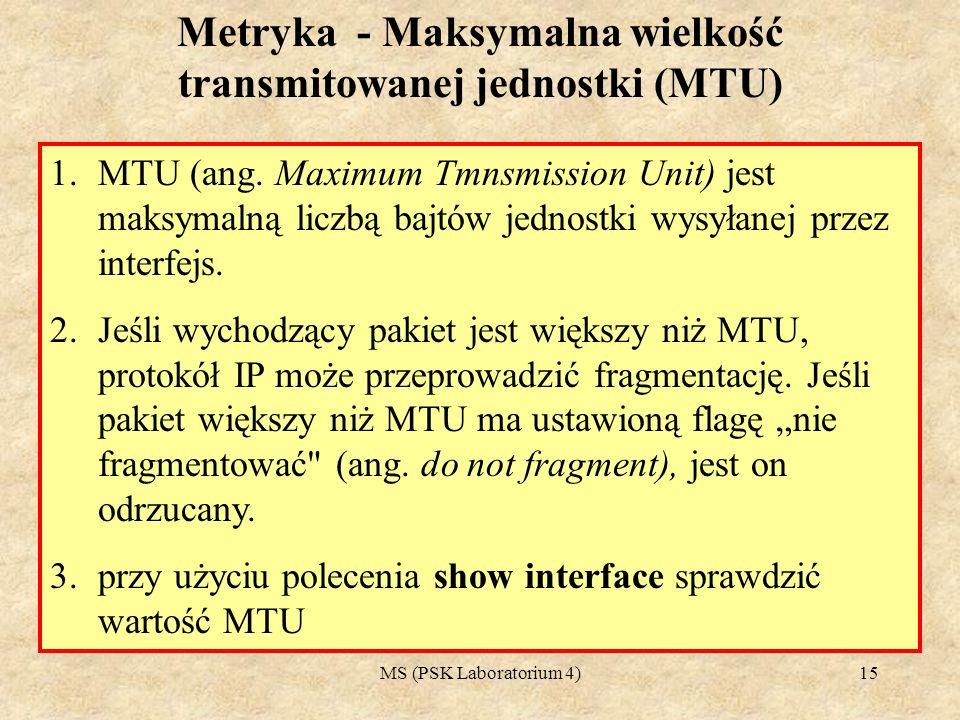 Metryka - Maksymalna wielkość transmitowanej jednostki (MTU)