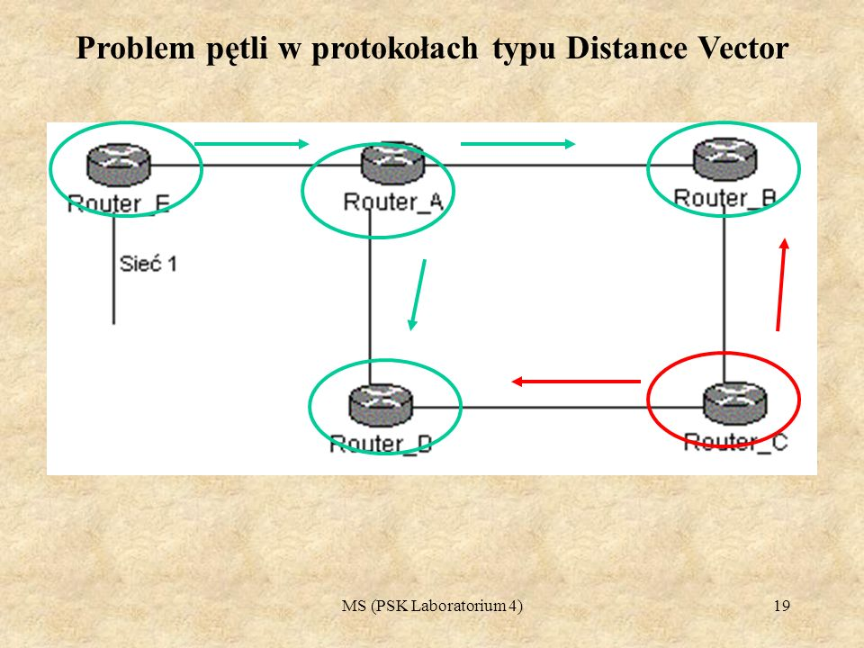 Problem pętli w protokołach typu Distance Vector