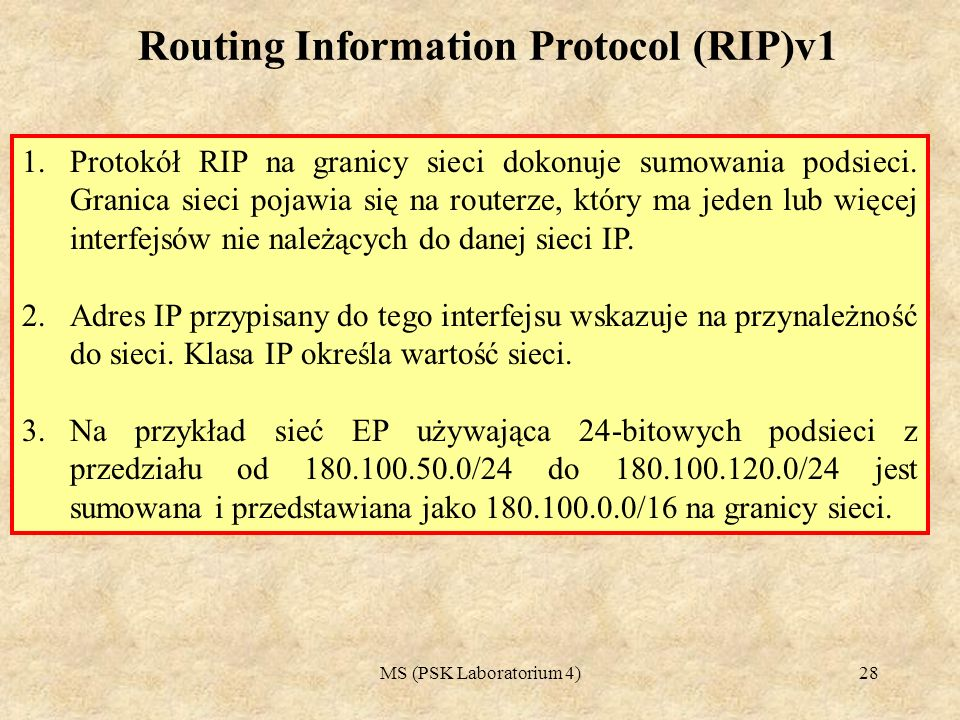Routing Information Protocol (RIP)v1