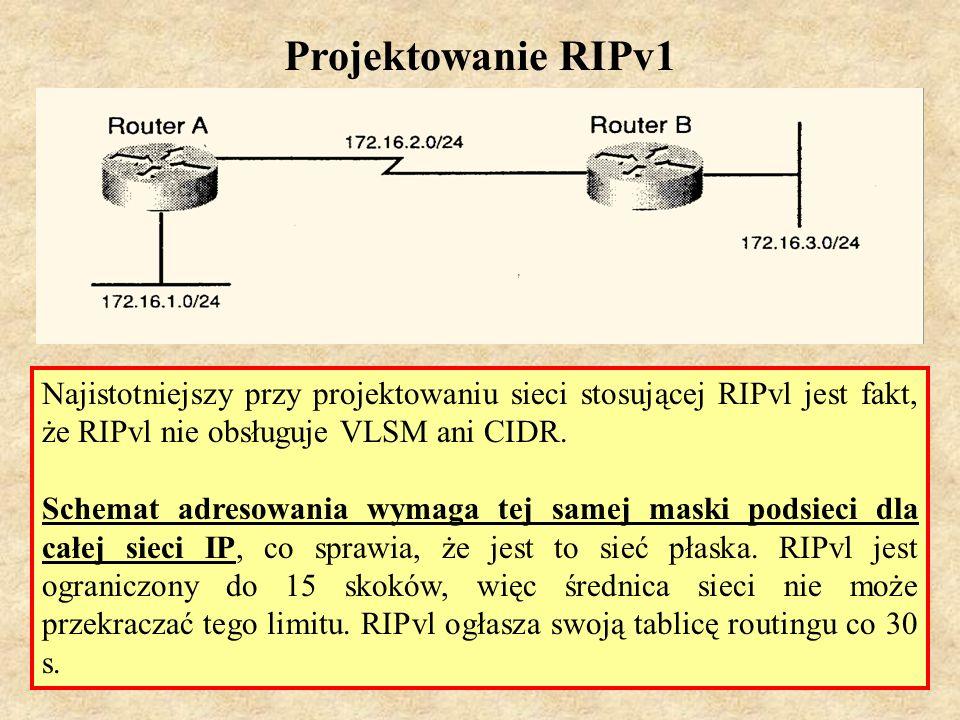 Projektowanie RIPv1Najistotniejszy przy projektowaniu sieci stosującej RIPvl jest fakt, że RIPvl nie obsługuje VLSM ani CIDR.