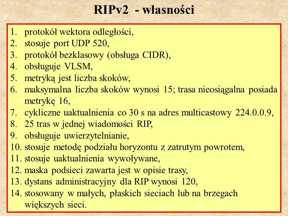 RIPv2 - własności protokół wektora odległości, stosuje port UDP 520,