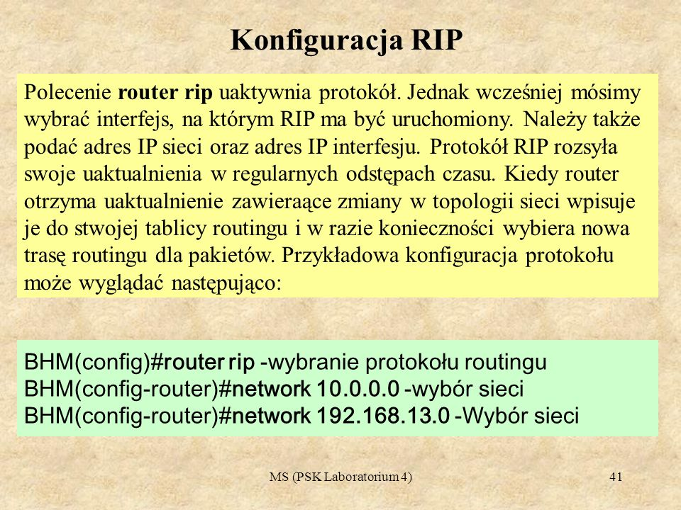 Konfiguracja RIP