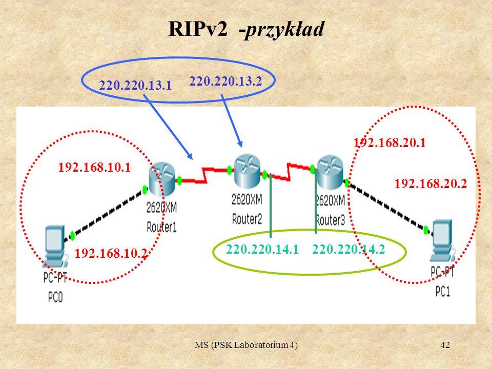 RIPv2 -przykład 220.220.13.1. 220.220.13.2. 192.168.20.1. 192.168.10.1. 192.168.20.2. 220.220.14.1.