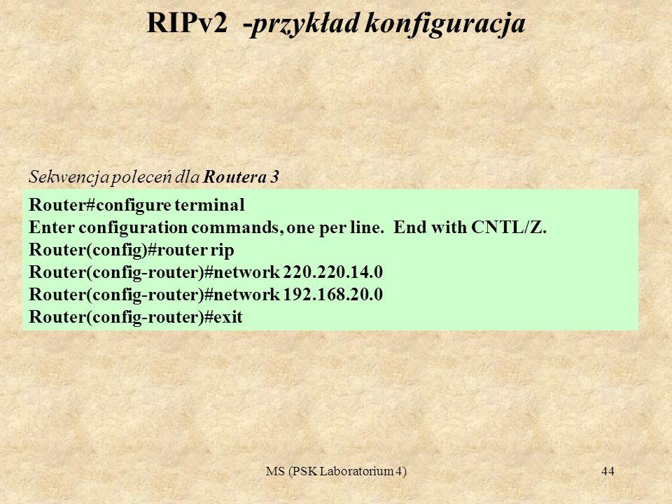 RIPv2 -przykład konfiguracja