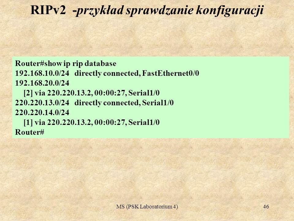 RIPv2 -przykład sprawdzanie konfiguracji