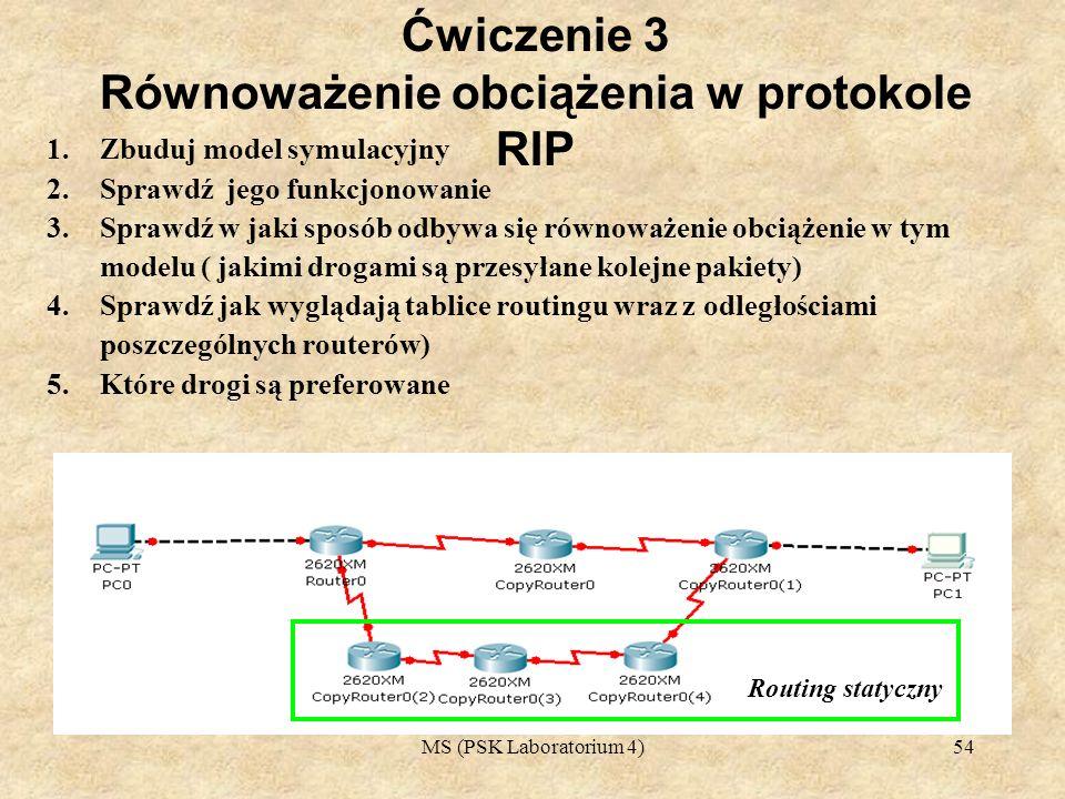 Ćwiczenie 3 Równoważenie obciążenia w protokole RIP