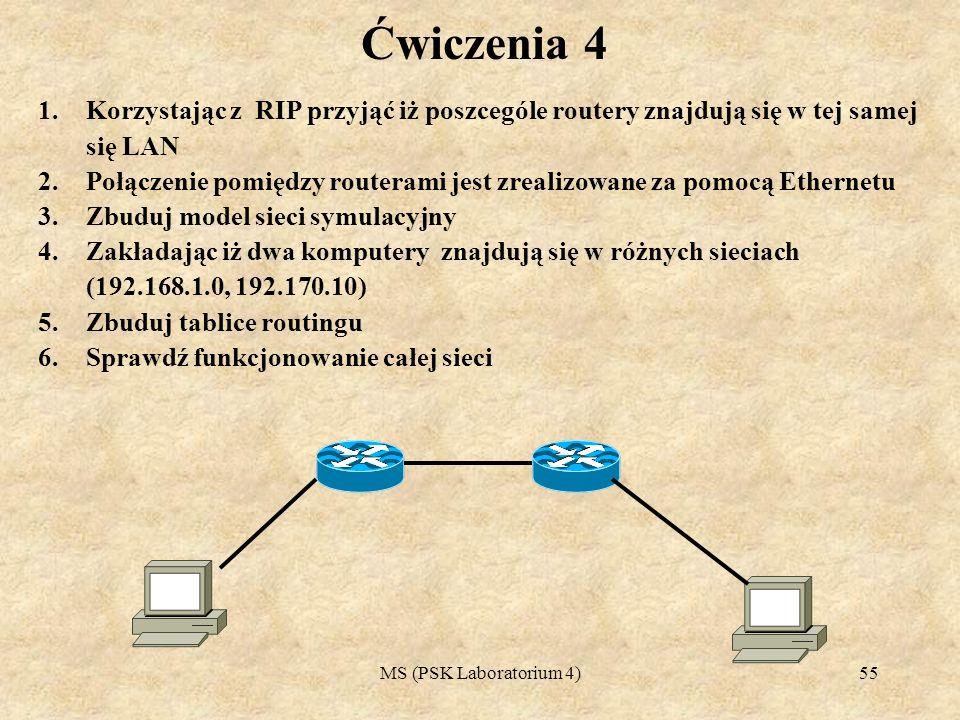Ćwiczenia 4 Korzystając z RIP przyjąć iż poszcególe routery znajdują się w tej samej się LAN.