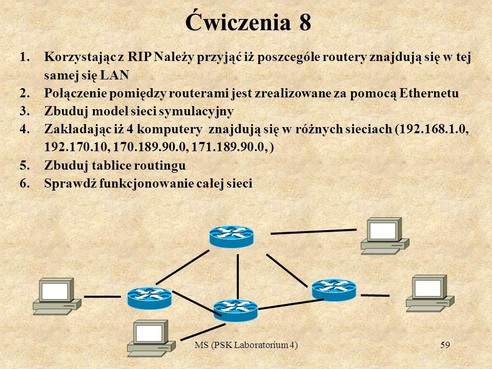 Ćwiczenia 8Korzystając z RIP Należy przyjąć iż poszcególe routery znajdują się w tej samej się LAN.