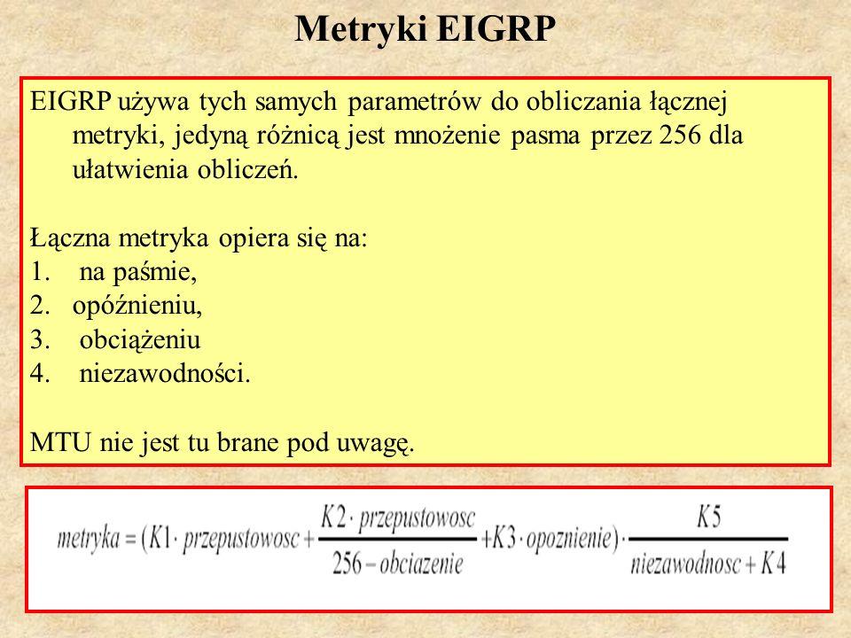 Metryki EIGRP EIGRP używa tych samych parametrów do obliczania łącznej metryki, jedyną różnicą jest mnożenie pasma przez 256 dla ułatwienia obliczeń.
