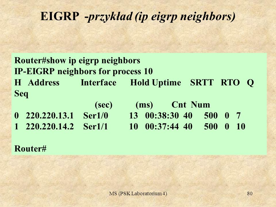 EIGRP -przykład (ip eigrp neighbors)