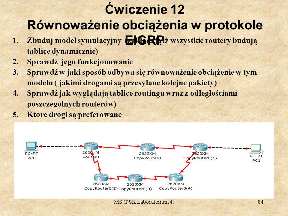 Ćwiczenie 12 Równoważenie obciążenia w protokole EIGRP