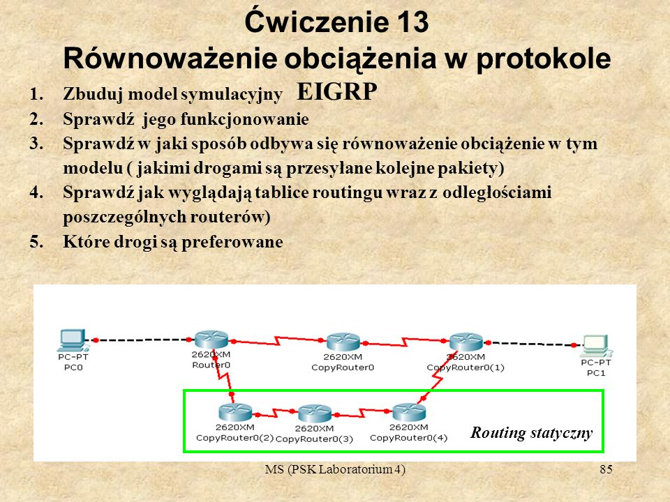 Ćwiczenie 13 Równoważenie obciążenia w protokole EIGRP