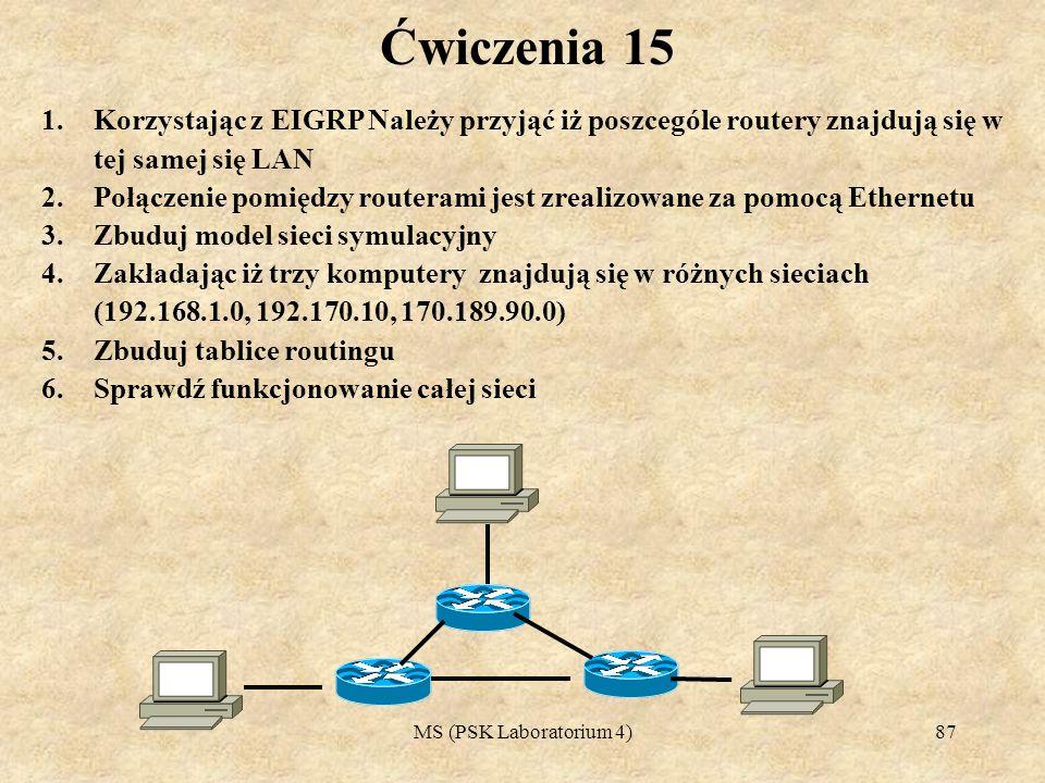 Ćwiczenia 15 Korzystając z EIGRP Należy przyjąć iż poszcególe routery znajdują się w tej samej się LAN.