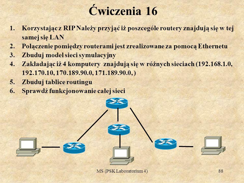 Ćwiczenia 16 Korzystając z RIP Należy przyjąć iż poszcególe routery znajdują się w tej samej się LAN.