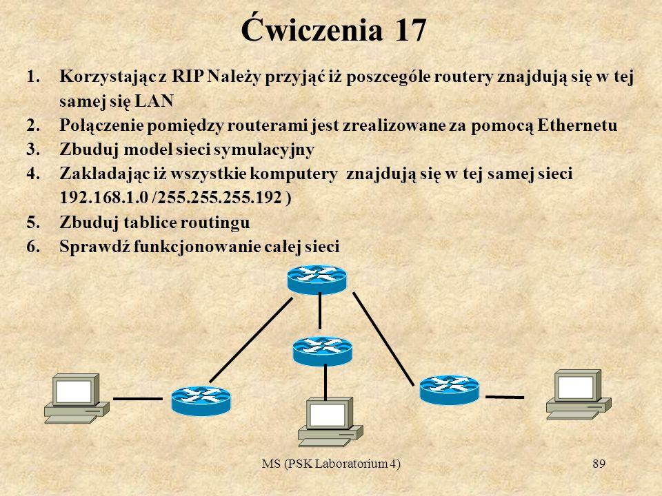 Ćwiczenia 17Korzystając z RIP Należy przyjąć iż poszcególe routery znajdują się w tej samej się LAN.