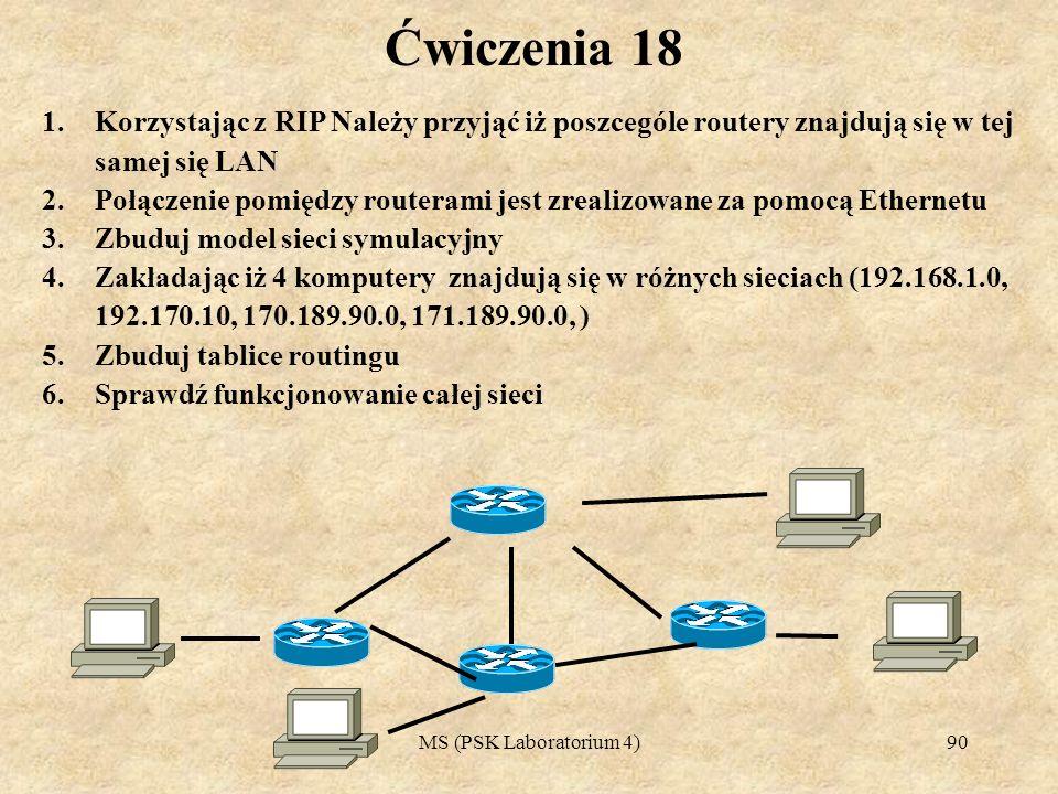 Ćwiczenia 18Korzystając z RIP Należy przyjąć iż poszcególe routery znajdują się w tej samej się LAN.
