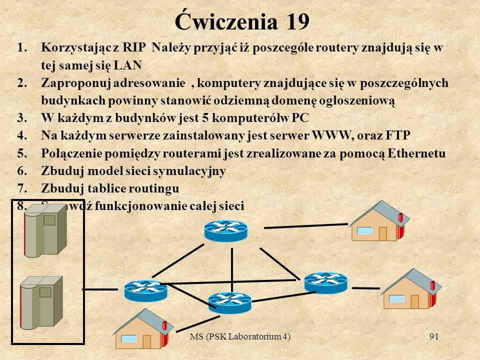 Ćwiczenia 19 Korzystając z RIP Należy przyjąć iż poszcególe routery znajdują się w tej samej się LAN.