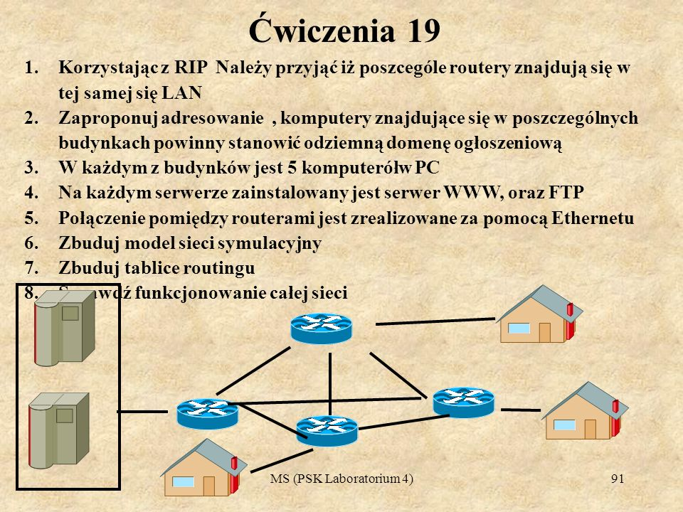 Ćwiczenia 19Korzystając z RIP Należy przyjąć iż poszcególe routery znajdują się w tej samej się LAN.